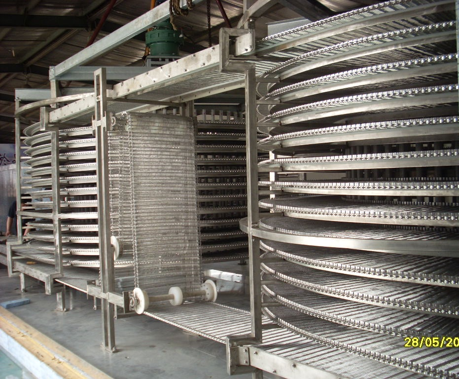 Double Spiral Freezer 1000-3000kg/h Freeze Meat Seafood with Stainless Steel Material